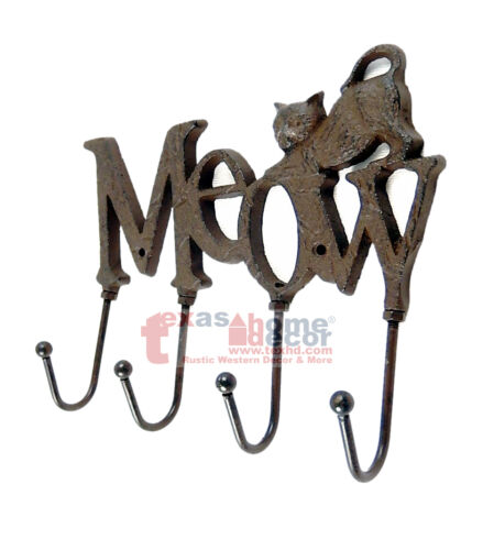 Meow Cat Key Holder Cast Iron Wall Mounted 4 Hooks Rustic Brown Antique Style