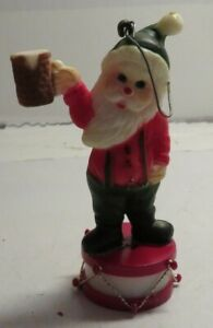 Vintage-1985-TELCO-MUSIC-Santa-Claus-w-Beer-Christmas-Ornament-Needs-Battery