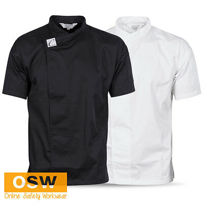 UNISEX WAITER CHEF CAFE RESTAURANT HOSPITALITY BLACK/WHITE TUNIC JACKET/SHIRT