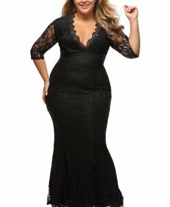 59cfd2f54da Image is loading Black-Plus-Size-Lace-Gown-Prom-Dress-XL-