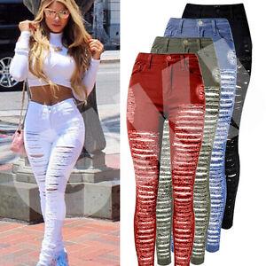 Womens-Ladies-Celeb-Stretch-Ripped-Skinny-High-Waist-Denim-Pants-Jeans-S-M-L-XL