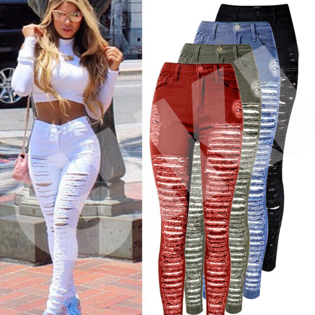 Womens Ladies Celeb Stretch Ripped Skinny High Waist Denim Pants Jeans S M L XL