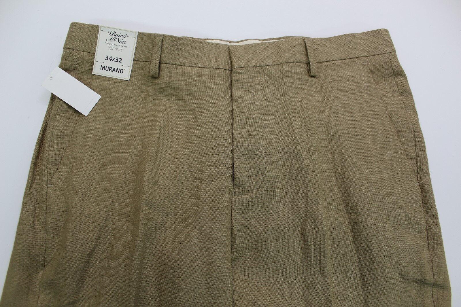 Men's MURANO Walnut Tan Khaki LINEN Dress Pants 34x32 NEW NWT Baird McNutt