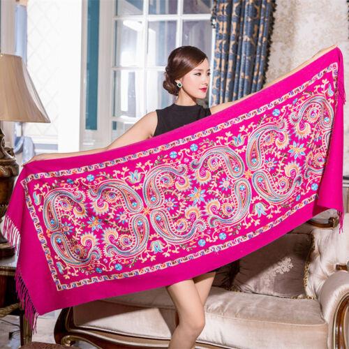 Women Embroider Flower Pashmina Cashmere Shawl Winter Warm Tassels Oversiz Scarf