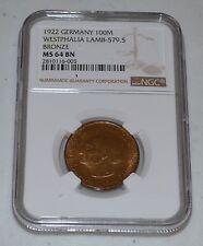 1922 Germany 100 Mark Not Gelt Pre-Hyperinflation Westphalia Lamb-579.5 MS 64 BN