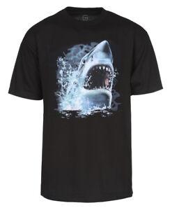 Men-039-s-Great-White-Shark-Bite-Custom-T-Shirt-Black