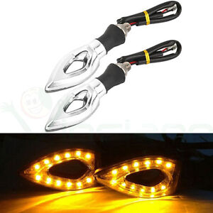 2x-indicatore-direzione-segnale-12-LED-AMBRA-indicatori-luce-frecce-moto-ARGENTO