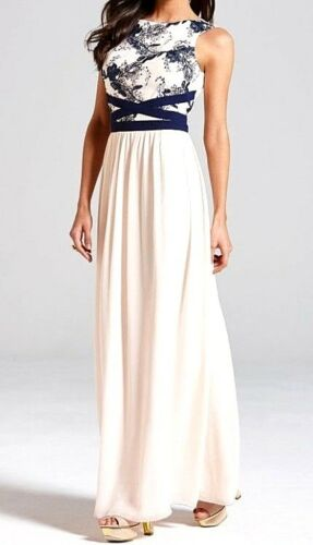 New Womens Little Mistress Embroidered Maxi Dress Navy Nude UK 12 RRP£70