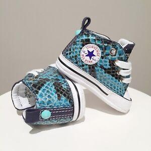 Converse All Star Baby Blu Personalizzate Serpente Blu e Borchie