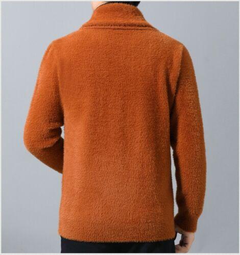 Men Knitting Jacket Mohair Cardigan Sweater Knitwear Single Breasted Coat Big SZ