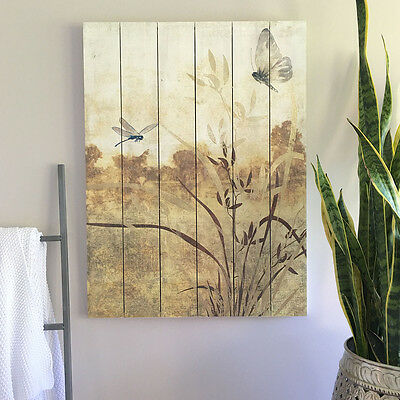 80cm Timber Wall Panel/Wood/Ready To Hang Landscape Art/Gold/Neutral/Beige/Brown