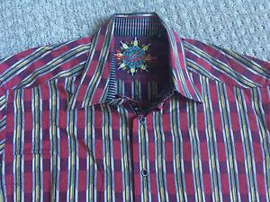 ROBERT-GRAHAM-Large-Red-Striped-Shirt-Bright