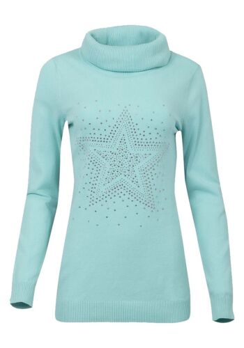 Ladies Mint Roll Neck Ribbed Knitted Star Embellished Longsleeve Jumper.Size8-30