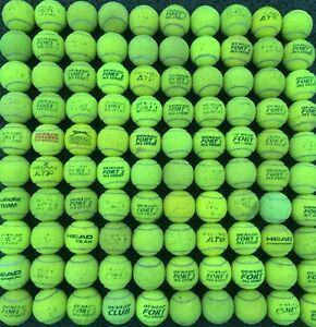100-Mixed-Used-Tennis-Balls-Mostly-Dunlop-Fort-All-Court
