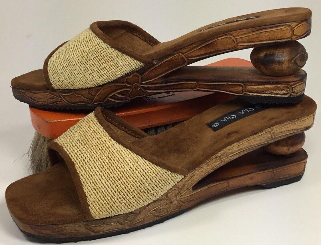 Women's Shoes Cha Cha Wooden Sole Shoes Women's Brown Sz.7 662edb