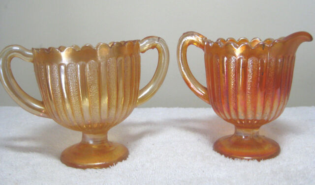 Vintage Creamer & Sugar Bowl Set Marigold Orange Carnival Glass Scalloped Edge