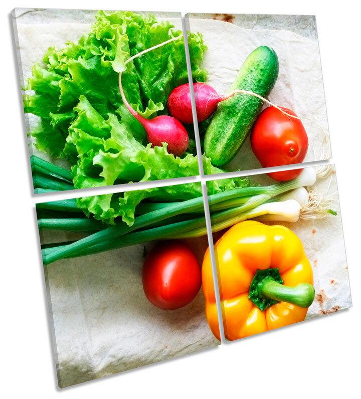 Fresh Kitchen Vegetables  MULTI CANVAS Wand Kunst Square Bild