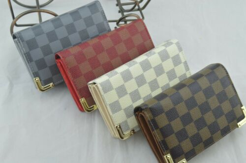 Classic Check Print Women Ladies Short Purse Card Holder Lots Compartment Boxed