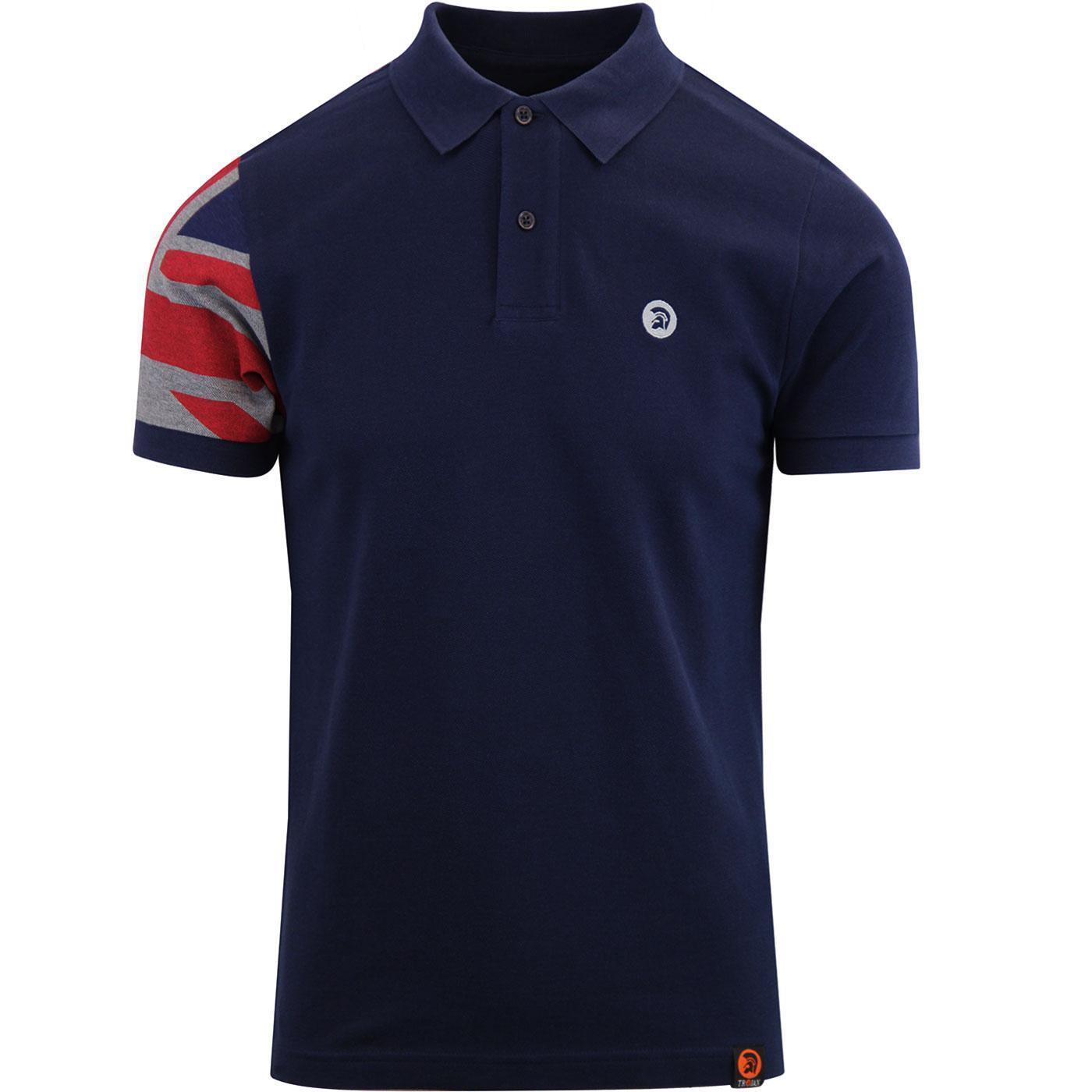 Uomo Troiano Mod Maglietta Polo di Cotone Union Jack Manica Tr 8377 - Blu Navy
