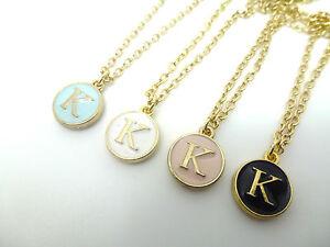 Round enamel gold letter k initial charm necklace in pink blue la imagen se est cargando redonda de esmalte y oro letra inicial k aloadofball Image collections