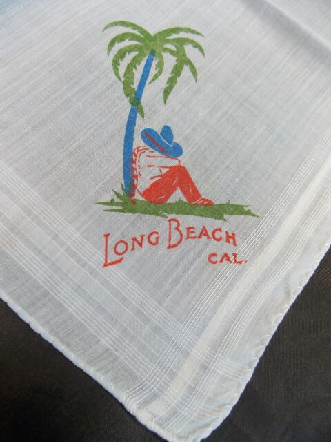 VINTAGE LONG BEACH CAL SOUVENIR HANDKERCHIEF PRINT CALIFORNIA HANKY LIGHT BLUE