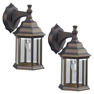 2 Pack of Exterior Wall Light Fixture Outdoor Sconce Lantern, Oil Rubbed Bronze