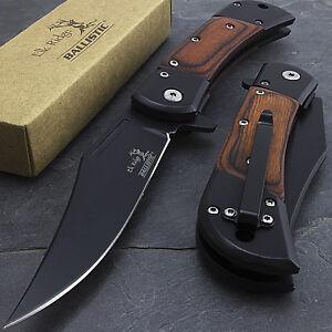 """8.5"""" ELK RIDGE WOOD SPRING ASSISTED FOLDING TACTICAL POCKET KNIFE Open Assist"""