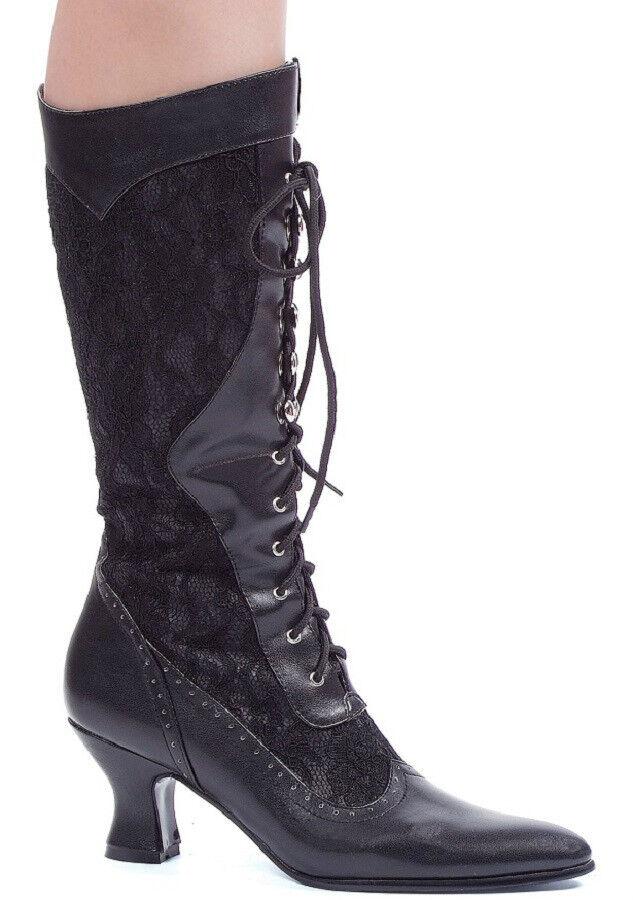 Victorian Victorian Victorian Retro Boots 2.5  Heel Mid Calf Lace-Up Inlay Size 6-10 NIB 253-REBECCA 25c994