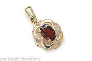 9ct-Gold-Garnet-Celtic-Necklace-Pendant-no-chain-Gift-Boxed-UK-Made
