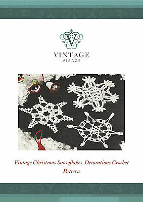 Vintage crochet pattern- how to make 3 snowflake Xmas tree decorations