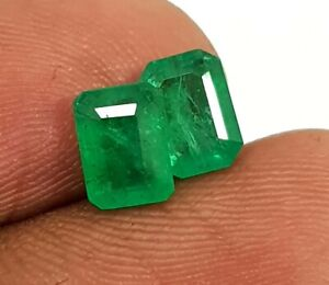 2.11 Ct Natural Emerald Zambia Top Quality Emerald Cut Pair Untested Loose Gems