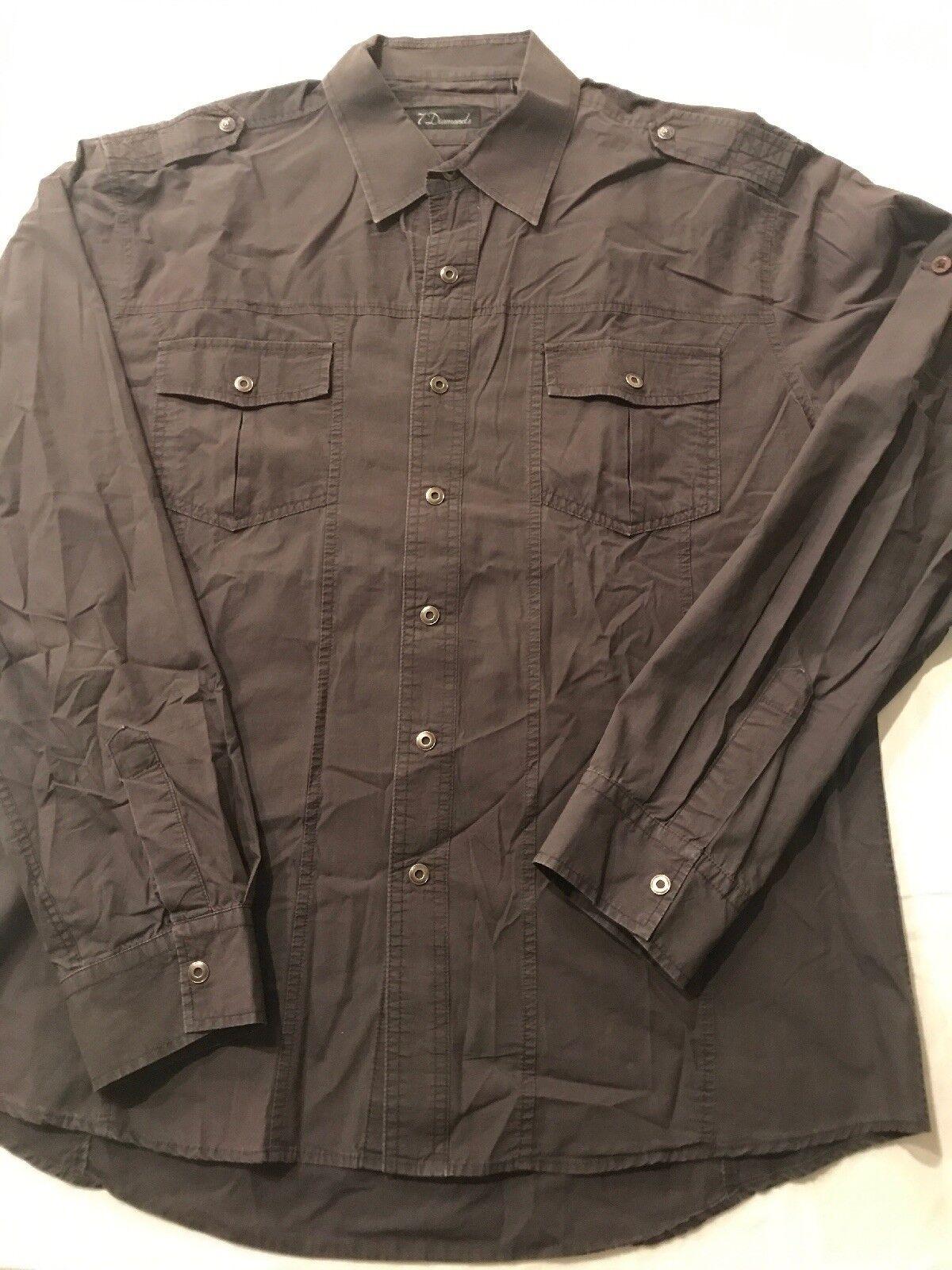 17169e5f 7 DIAMONDS Mens XXL 100% Cotton Long Sleeve Snap Front Brown TS8 Shirt  noadtz524-Casual Button-Down Shirts