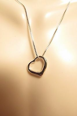 Floating Heart 925 Sterling Silver Small Pendant Necklace Box Chain