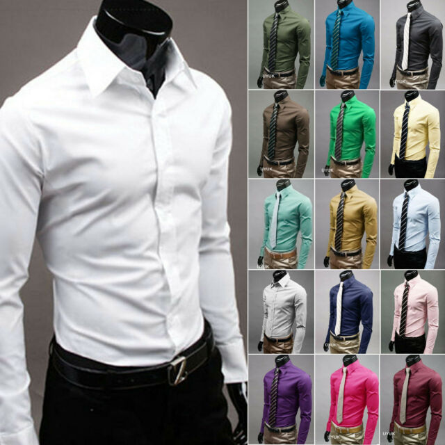 Fashion Mens Luxury Stylish Casual Dress Slim Fit Long Sleeve T-Shirts 17 Colors