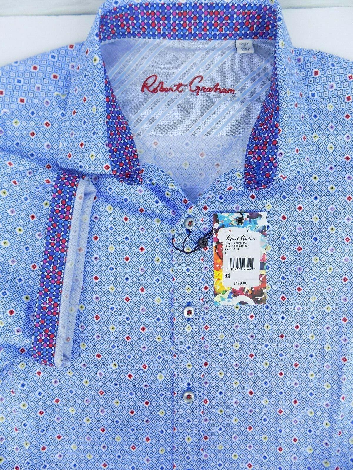 178 Neuf avec étiquettes Robert Graham Hankerson classic fit s s SHIRT bleu Taille-grand
