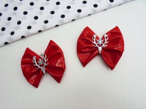 2er Set Mini Haarschleifen Lack Schwarz Rot Totenkopf Geweih Gothic Helloween