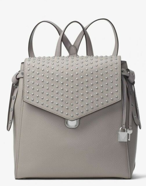 4abe3e69b2c0 Michael Kors Bristol Medium Studded Leather Backpack Pearl Grey for ...