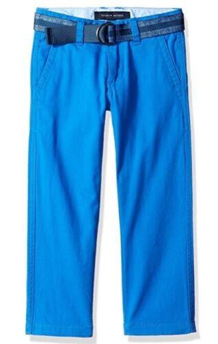 NWT New Tommy Hilfiger Boys Dagger Stretch Twill Pant With Belt Blue Sz 4-20