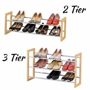 2-3-Tier-Extendable-Shoe-Rack-Chrome-Plated-Metal-with-Pinewood-Frame-Space