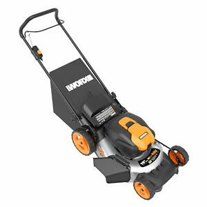 WORX-WG751-2X20V-20-034-Cordless-5-0ah-Lawn-Mower-w-Mulch-Plug-and-Side-Discharge