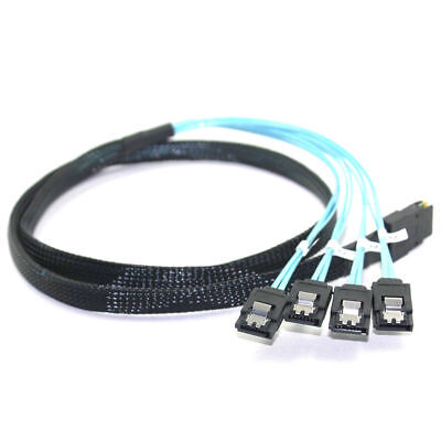 SAS 4i SFF-8087 36P 36-Pin Male to 4 SATA 7-Pin Splitter Adapter Cable 0.5M XP