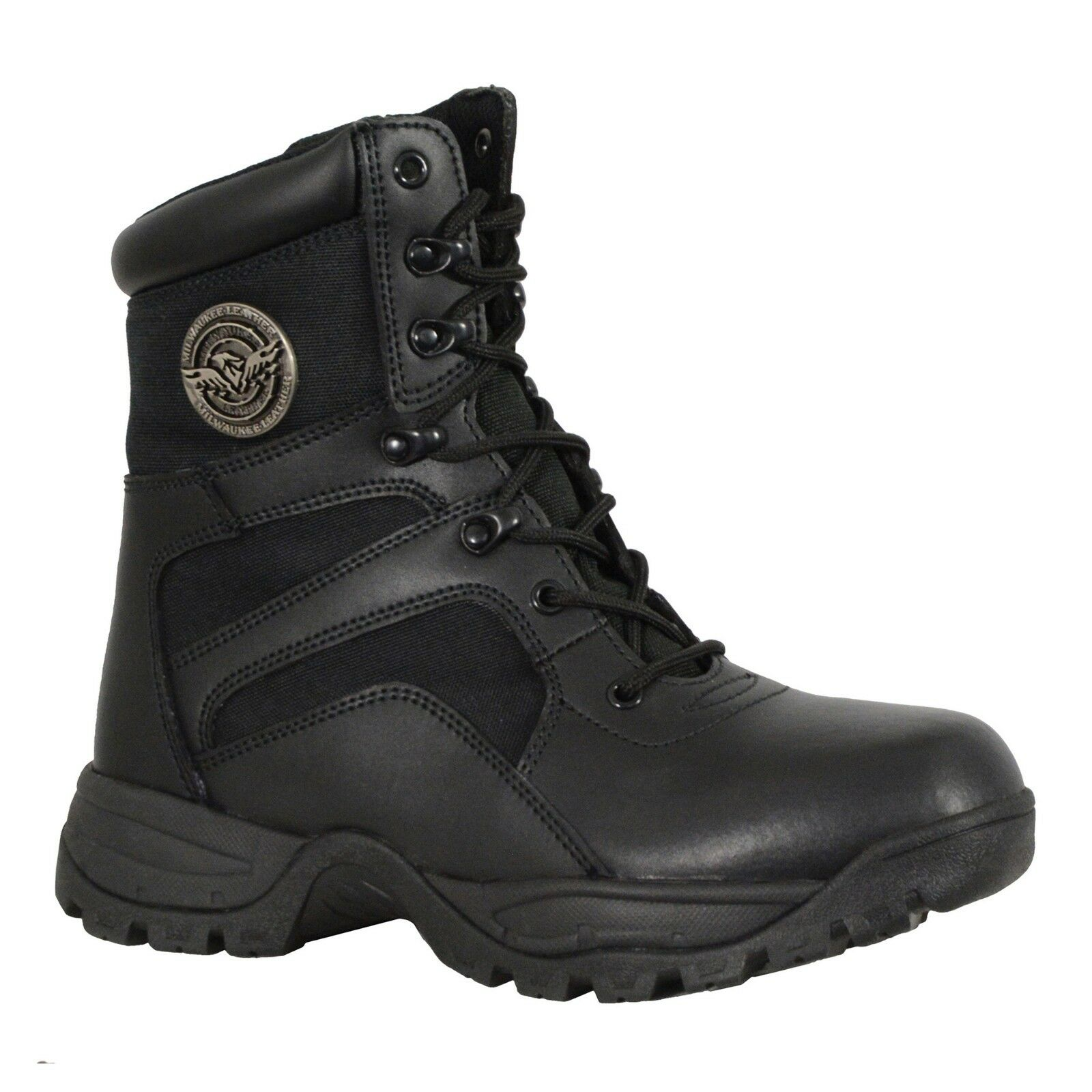 Milwaukee Leather Men's Tactical Boot W  Lace Up & Side Zipper Entry MBM9105