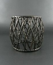 Burnish Gun Metal Cage Look Wide Stretch Bracelet