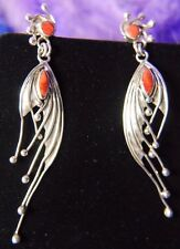 "Classy Spondylus Vintage Designer 3"" Red Spiny Oyster 0.950 Silver post Earrings"