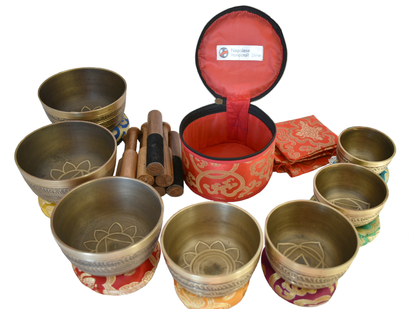 NHZ Chakra Healing Tibetan Singing Bowl Set of 7 for Meditation- Himalayan Bowls