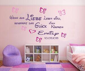 Kinderzimmer baby mädchen  Wandtattoo Kinderzimmer Baby Mädchen Spruch wenn aus Liebe Leben ...