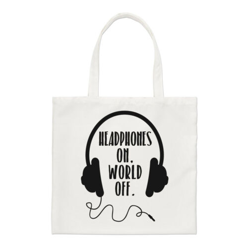 Headphones On World Off Regular Tote Bag Music DJ Funny Shopper Shoulder