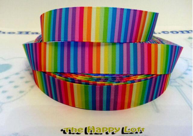 "✜ 1 Metre Rainbow GROSGRAIN RIBBON 7/8"" 22mm 1"" 25mm Cake Bow Hair Dummy Clips ✜"