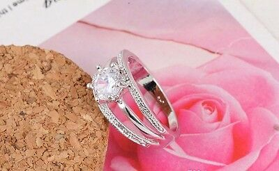 Women Silver Gold Plated Austrian Crystal Engagement Wedding Anniversary Ring UK