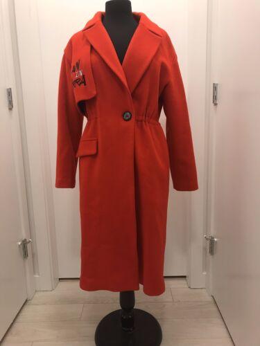 in lungo bottone lana rossa un Cappotto S taglia con 5Oxz5